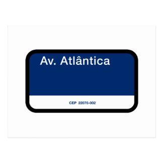Avenida Atlântica, Rio de Janeiro, Street Sign Postcard