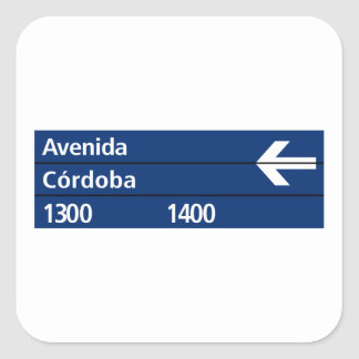 Avenida Córdoba, placa de calle de Buenos Aires Pegatina Cuadrada