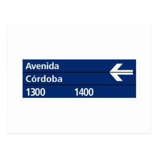 Avenida Córdoba, placa de calle de Buenos Aires Postal