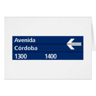 Avenida Córdoba, placa de calle de Buenos Aires Tarjeta De Felicitación