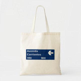 Avenida Corrientes, Buenos Aires Street Sign Canvas Bags