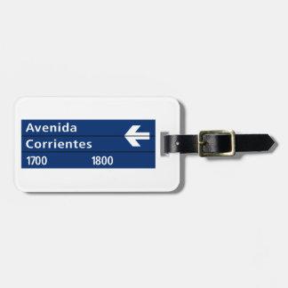 Avenida Corrientes, Buenos Aires Street Sign Travel Bag Tags