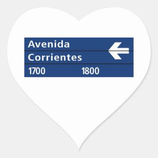 Avenida Corrientes, placa de calle de Buenos Aires Pegatina En Forma De Corazón