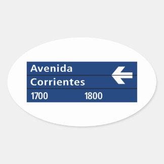 Avenida Corrientes, placa de calle de Buenos Aires Pegatina Ovalada