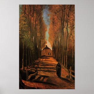 Avenida de álamos en bella arte de Van Gogh del Póster