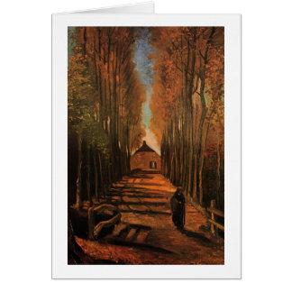 Avenida de álamos en bella arte de Van Gogh del Tarjeta Pequeña