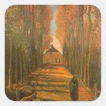 Avenida de álamos en otoño de Vincent van Gogh Pegatina Cuadrada