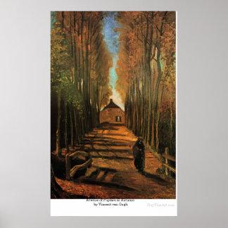 Avenida de álamos en otoño de Vincent van Gogh Póster