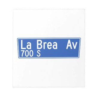 Avenida de Brea del La, Los Ángeles, placa de Blocs De Papel