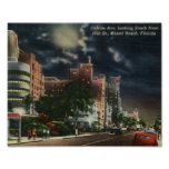 Avenida de Collins., vintage de Miami Beach, la Fl Impresiones