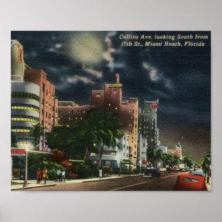 Avenida de Collins., vintage de Miami Beach, la Fl Póster