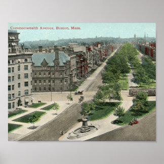 Avenida de la Commonwealth., vintage de Boston Impresiones