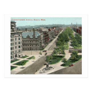 Avenida de la Commonwealth., vintage de Boston Postales