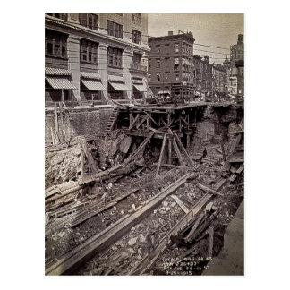 Avenida de la excavación séptima del subterráneo y tarjeta postal
