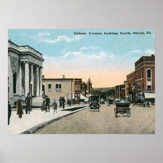 Avenida de la galena., Dixon, vintage de IL Posters