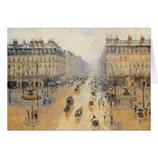 Avenida de l'Opera, efecto de Camilo Pissarro- de  Tarjeta De Felicitación