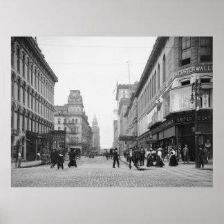 Avenida de Madison de St de la cumbre, 1900s tempr Posters