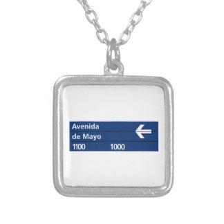 Avenida de Mayo Buenos Aires Street Sign Personalized Necklace