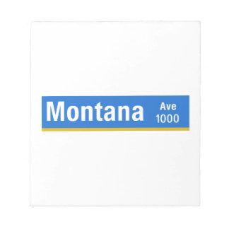 Avenida de Montana, Los Ángeles, placa de calle de Libretas Para Notas