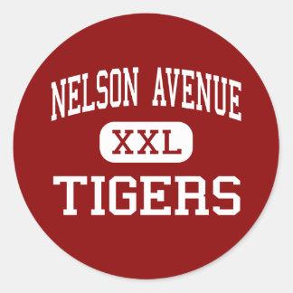 Avenida de Nelson - tigres - centro - Oroville Pegatina Redonda