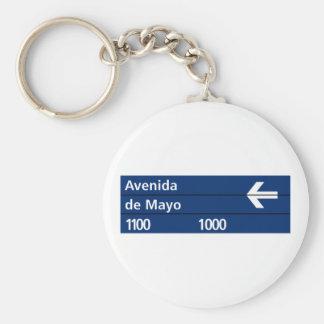 Avenida de placa de calle de Mayo, Buenos Aires Llavero Redondo Tipo Chapa
