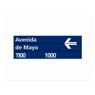 Avenida de placa de calle de Mayo, Buenos Aires Tarjeta Postal