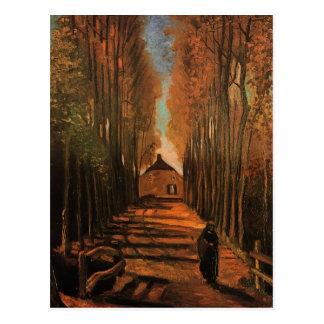 Avenida de Van Gogh de álamos en el otoño F122 Tarjetas Postales