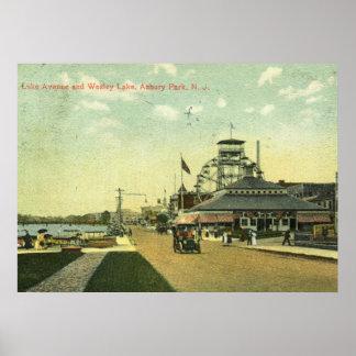 Avenida del lago, parque de Asbury, vintage 1909 Póster
