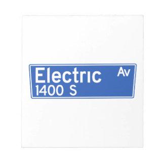 Avenida eléctrica, Los Ángeles, placa de calle de Libretas Para Notas