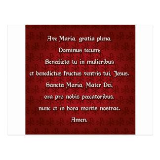 Avenida Maria, saludo Maria en latín Tarjetas Postales