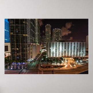 Avenida Miami la Florida de Brickell después de la Póster