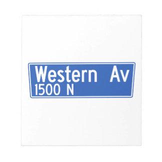 Avenida occidental, Los Ángeles, placa de calle de Blocs De Notas
