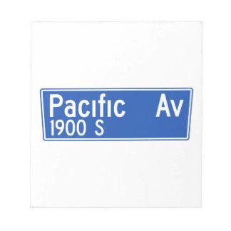Avenida pacífica, Los Ángeles, placa de calle de Blocs De Notas