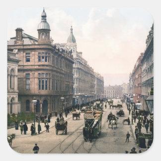 Avenida real Belfast Co. Antrim, Irlanda 1890 Pegatina Cuadrada