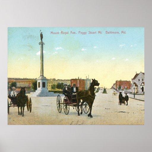 Avenida real del soporte., vintage de Baltimore Póster