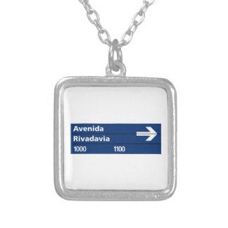 Avenida Rivadavia Buenos Aires Street Sign Necklace
