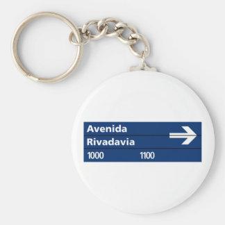 Avenida Rivadavia, placa de calle de Buenos Aires Llavero Redondo Tipo Chapa