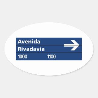 Avenida Rivadavia, placa de calle de Buenos Aires Pegatina Ovalada