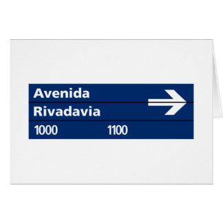 Avenida Rivadavia, placa de calle de Buenos Aires Tarjeta De Felicitación