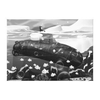 Aventura ártica submarina del Victorian Impresión De Lienzo