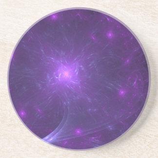 Aventura cósmica púrpura y rosada posavasos de arenisca