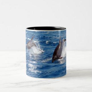 Aventura del delfín taza de café de dos colores