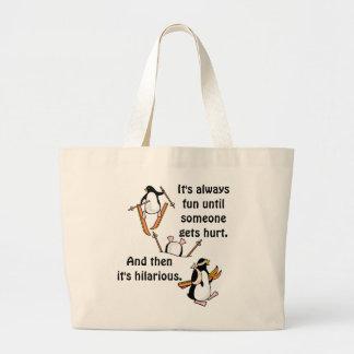 Aventura del esquí del pingüino bolsa tela grande