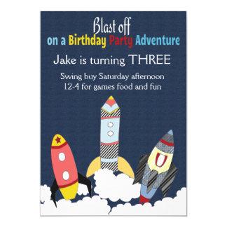 """Aventura del fiesta de Rocket del cumpleaños Invitación 5"""" X 7"""""""