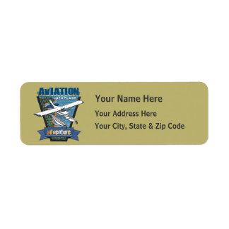 Aventura del hidroavión de la aviación etiqueta de remitente