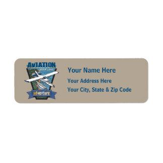 Aventura del hidroavión de la aviación etiquetas de remite