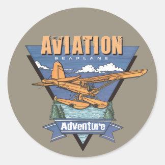 Aventura del hidroavión de la aviación etiquetas redondas