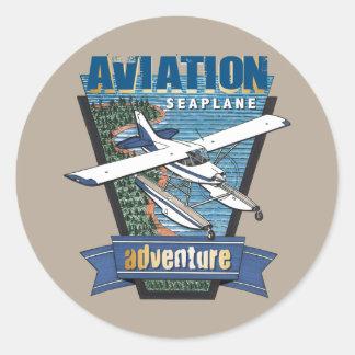 Aventura del hidroavión de la aviación pegatina redonda