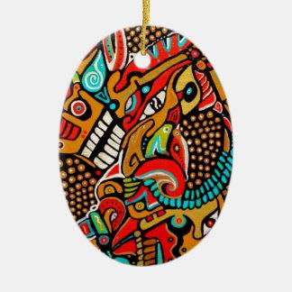 Aventura del navidad de la rana, del perro y del adorno ovalado de cerámica