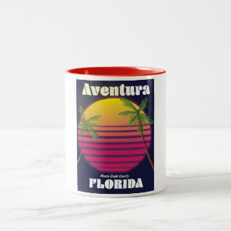 Aventura Florida USA 80s travel poster Two-Tone Coffee Mug
